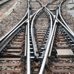 Train tracks in switching yard